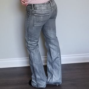 7 For All Mankind silver metallic bootcut lowrise
